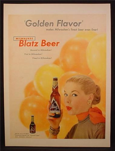 Magazine Ad For Blatz Beer, Golden Flavor, Continental Special, Woman with Red Scarf, 1954