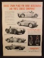 Magazine Ad For Champion Spark Plugs, Race Cars, Jaguar Ferrari Lancia Cunningham, 1954