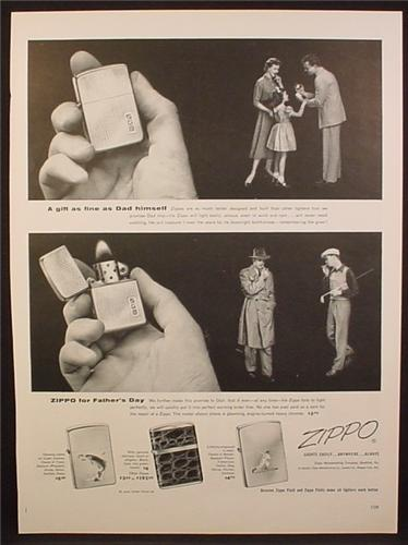 Magazine Ad For Zippo Lighters, 4 Models Pictures, Fathers Day, 1954
