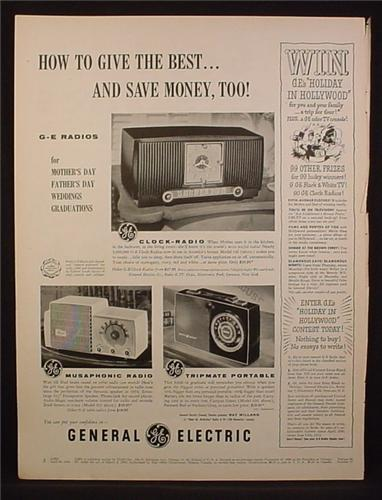 Magazine Ad For GE General Electric Radios, Musaphonic, Tripmate Portable, 1954