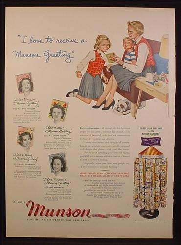 Magazine Ad For Munson Greeting Cards, Display Rack, Mother & Children, 1954