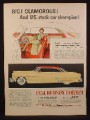 Magazine Ad For Hudson Hornet Hollywood Hardtop Car, Yellow with Red Rood, 1954