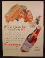Magazine Ad For Budweiser Beer, Bottle, Man Carrying Cardboard Case, Wife Has Keys, 1954