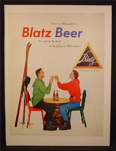 Magazine Ad For Blatz Beer, First In Milwaukee, Couple Enjoying a Beer After Skiing, 1954