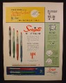 Magazine Ad For Scripto Push Button Ball Pen, 2 Tone Fashion Colors, 1954
