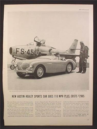 Magazine Ad For Austin-Healey 100 Sports Car, Beside a Republic F-84F Thunderstreak Jet, 1954