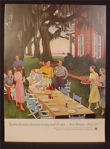 Magazine Ad For Beer Belongs, Number 92, Gulf Coast Shrimp Dinner, by John Falter, 1954