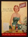 Magazine Ad For Schlitz Beer, Pretty Redhead Woman in Green Gown, 1954