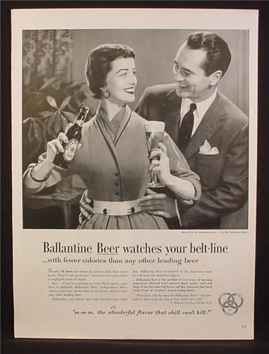 Magazine Ad For Ballantine Beer Watches Your Belt Line, Hands on Woman's Waist, 1954