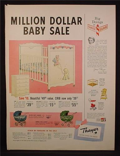 Magazine Ad For Thayer Million Dollar Baby Sale, Cribs, Carriage, Playpen, Stroller, 1954