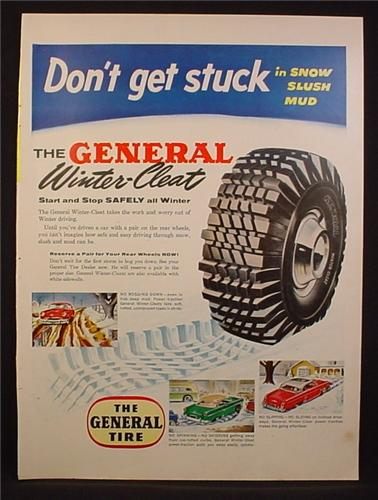 Magazine Ad For The General Tire, Winter-Cleat Tire, Winter Cleat, Snow Tire, 1954