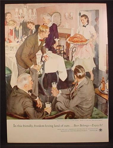 Magazine Ad For Beer Belongs, Number 101, Thanksgiving Dinner by John Gannam, 1954