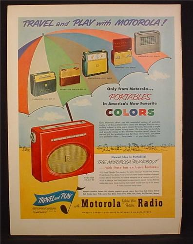 Magazine Ad For Motorola Portable Radios, In Colors, Runabout, Escort, Playmate, 1954