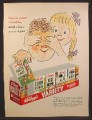 Magazine Ad For Kellogg's Variety Pack, Open Your Mouth and Close Your Eyes, 1954