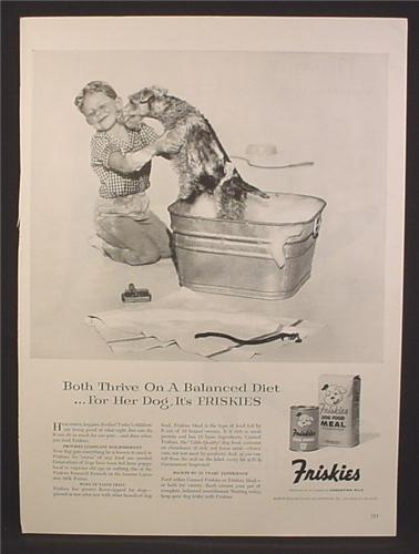Magazine Ad For Friskies Canned Dog Food & Meal, Girl Giving Her Schnauzer A Bath In A Tub