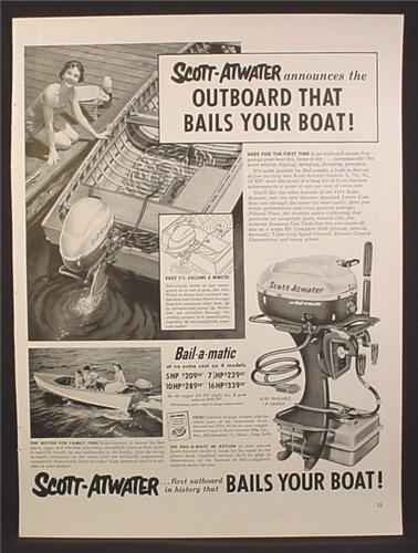 Magazine Ad For Scott-Atwater Bail-A-Matic Outboard Motor, Scott Atwater, 1954