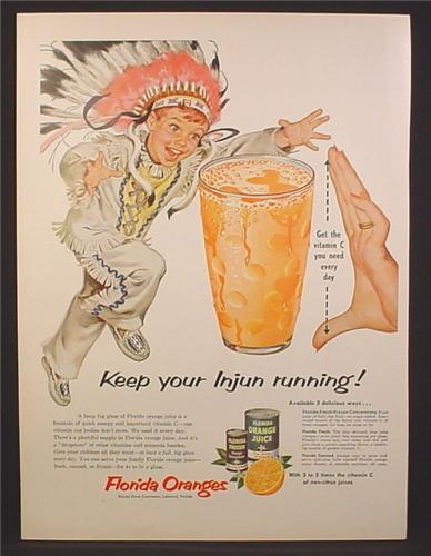 Magazine Ad For Florida Oranges, Keep Your Injun Running, Boy Dressed As An Indian, 1954