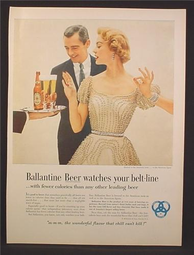 Magazine Ad For Ballantine Beer Watches Your Belt Line, Pretty Woman In Gown, 1954