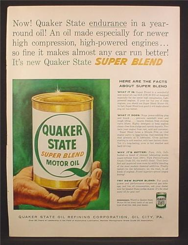 Magazine Ad For Quaker State Super Blend Motor Oil, Large Can, 1954