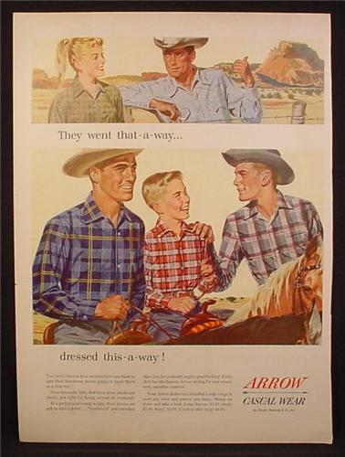 Magazine Ad For Arrow Casual Wear, They Went That A Way Dressed This A Way, 1954