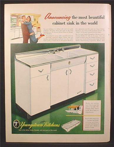 Magazine Ad For Youngstown Kitchens Steel Diana Cabinet Sink, White, 1954