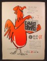 Magazine Ad For GE General Electric Caller Alarm Clock, Rooster, 1954