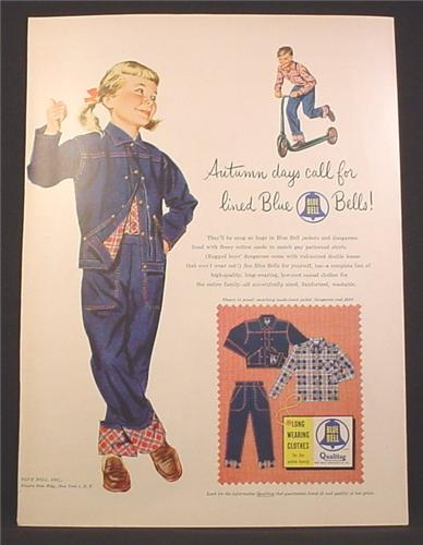1220ef5b3 Magazine Ad For Blue Bells Kids Clothing, Girl in Jean Outfit, Boy On  Scooter, 1954