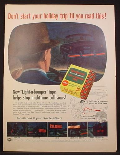 Magazine Ad For Scotchlite Reflective Sheeting, Lite-A-Bumper Tape, 3M, 1954