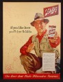Magazine Ad For Schlitz Beer, Fisherman in Waders Holding Can & Can Opener, 1954