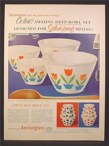 Magazine Ad For Anchorglass Splash Proof Mixing Bowl Set, Tulip Pattern, 1954