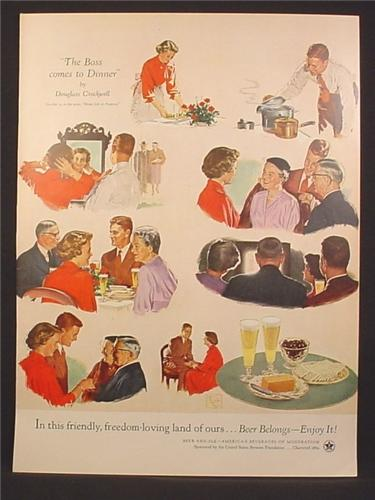 Beer Belongs, The Boss Comes To Dinner, Crockwell, 1954, 10 3/8 by 14, 1954 Life Magazine