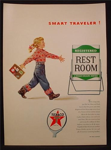 Magazine Ad For Texaco Registered Rest Room, Little Girl With Suitcase, 1954