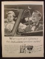Magazine Ad For Ethyl Gasoline, Guy & Girl in Car, Guy Looks Very Very Happy For Some Reason, 1954