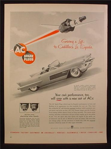 Magazine Ad For AC Spark Plugs, Cadillac La Espada Experimental Fiberglass Convertible Car, 1954