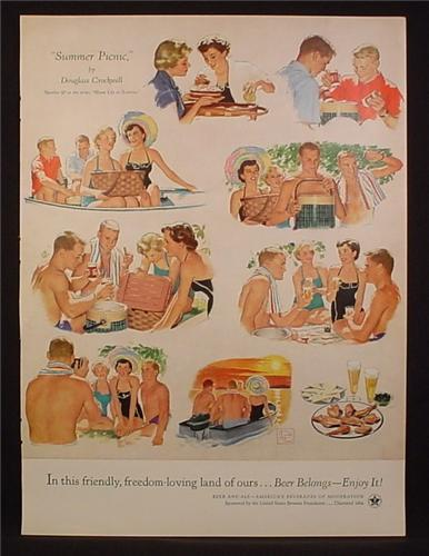 Magazine Ad For Beer Belongs, Number 97, Summer Picnic, Douglass Crockwell, 1954