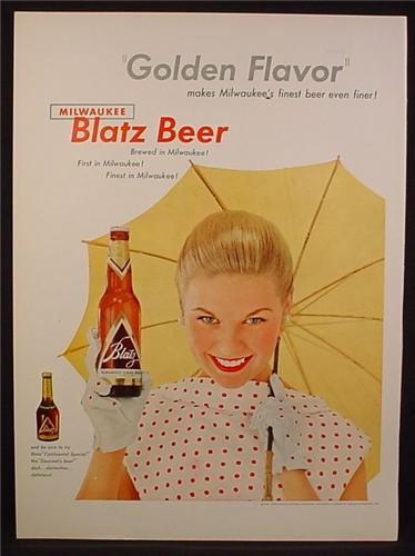 Magazine Ad For Blatz Beer, Golden Flavor, Woman Holding Bottle & Yellow Parasol, 1954
