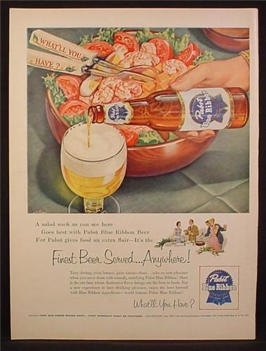 Magazine Ad For Pabst Blue Ribbon Beer, Tossed Salad, 1954