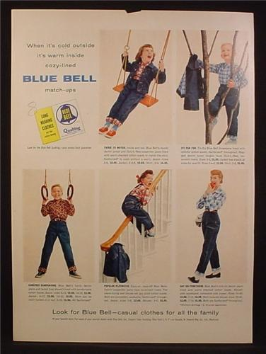 3bef785d7 Magazine Ad For Blue Bell Clothing For Kids, Jeans & Jackets, 1955