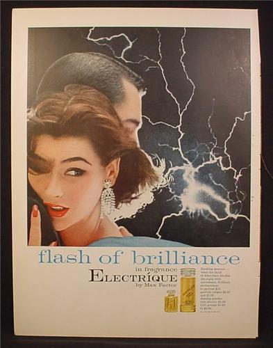 Magazine Ad For Max Factor Electrique Fragrance, Flash Of Brilliance, 1955