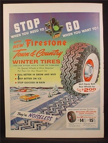 Magazine Ad For Firestone Town & Country Winter Tires, 1955