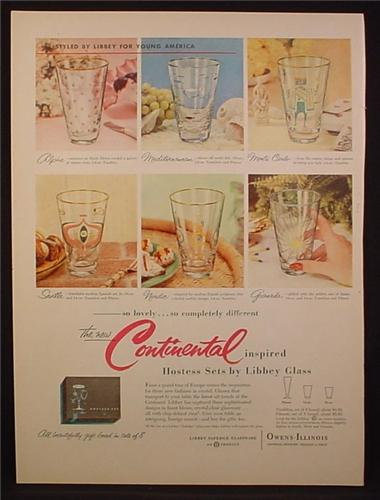 Magazine Ad For Owens-Illinois, Hostess Sets By Libbey Glass, 6 Designs, Alpine, Seville, 1955