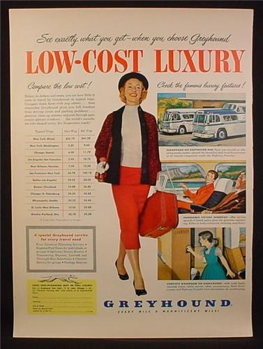 Magazine Ad For Greyhound Bus Lines, Low-Cost Luxury, Woman With Suitcase, 1955