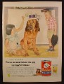 Magazine Ad For Friskies Dog Food, Kids Putting Hats on a Bloodhound, Douglas Crockwell, 1955