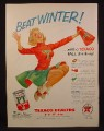 Magazine Ad For Texaco Dealers, PT Anti Freeze, Cheerleader in Red & Green Outfit, 1955