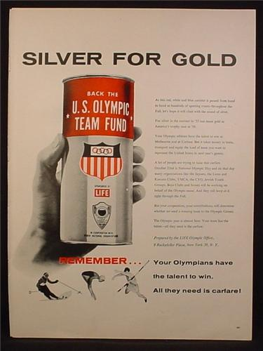 Magazine Ad For U.S. Olympic Team Fund Raising Canister Passed At Sporting Events, 1955