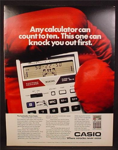 Magazine Ad For Casio The Contender with Boxing Game Built In, 1982