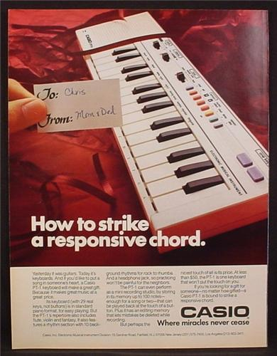 Magazine Ad For Casio PT-1 Electric Keyboard, Musical Instrument, 1985