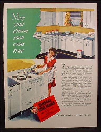 Magazine Ad For GSW General Steel Wares, Kitchen Appliances, 1945