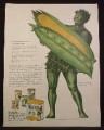 Magazine Ad For Niblets Corn & Peas, Green Giant Holding Huge Pea Pod & Ear of Corn, 1945