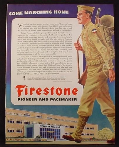 Magazine Ad For Firestone, Come marching Home, Soldier Returning To Factory, WWII, 1945